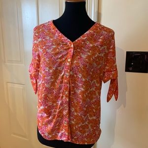 NWOT Cynthia Rowley orange floral silky blouse